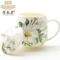 骨瓷创意马克杯带盖勺杯子牛奶杯陶瓷情侣水杯韩版简约可爱咖啡杯