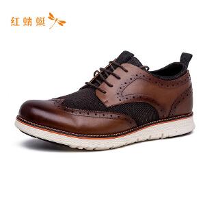 红蜻蜓系带舒适休闲圆头拼接时尚男单鞋