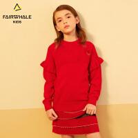【1件5折折后价155.4】马克华菲童装女童加厚打底毛衣冬新款儿童洋气圆领套头针织衫
