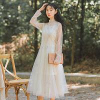 连衣裙 女士两件套裙子2019春款女装新款韩版气质网纱连衣裙甜美大摆裙学生套装裙长裙