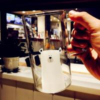 创意玻璃马克杯简约情侣玻璃杯大容量办公杯清新可爱耐热开水杯子