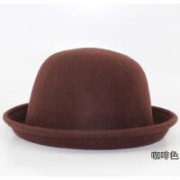 英伦复古小圆帽女士可爱圆顶礼帽 韩版潮女欧美帽子卷边羊毛呢帽子