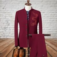 中山装套装男士青年中华立领西服修身中式新郎礼服唐装秋季三件套