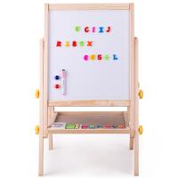 得力儿童学生画板实木可升降双面磁性多功能木制学生白板 儿童画板画架 粉笔绿板 460*400
