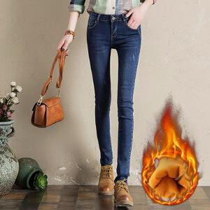 加厚牛仔裤女长裤韩版显瘦胖MM大码小脚铅笔裤高腰加绒牛仔裤