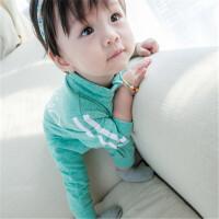 秋款婴儿连体衣服 纯色拉链运动哈衣爬服卫衣天使新生儿宝宝外套