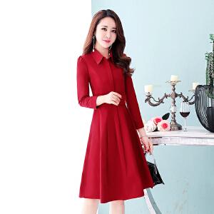 秋季裙子女装2018新款中长款收腰修身韩版长袖有女人味的连衣裙秋