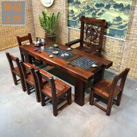 老船木茶桌椅组合客厅阳台小茶几办公泡茶桌茶台中式实木家具定制 整装