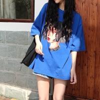孕妇夏装上衣2018新款短袖圆领孕妇T恤夏季韩版宽松印花刺绣套头