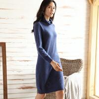 中长款羊绒衫女堆堆领套头毛衣裙厚开叉针织外套打底羊毛连衣裙
