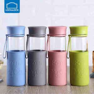 【用券立减20】乐扣玻璃杯大容量运动便携耐热玻璃水瓶水壶杯子茶杯500ml