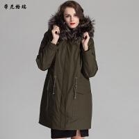 冬新款皮草外套中长款羊剪绒内胆貉子帽子派克服军大衣女装
