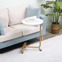 北欧沙发边几角几 可移动带轮小茶几现代简约客厅实木 创意床边桌 圆形白色 (带脚刹)