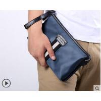 韩版大容量手拿包男潮夹包 时尚男士手包撞色编织牛津布男包手抓包