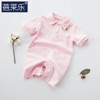 婴儿连体衣服宝宝婴春装季哈衣新生儿睡衣短袖03个月1岁