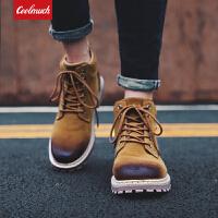 【满100减50/满200减100】Coolmuch男子工装鞋2019新款时尚复古耐磨防滑中高帮户外休闲马丁靴YG99