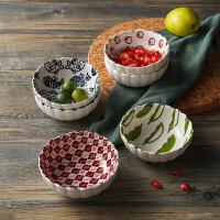 奇居良品 日式和风厨房餐具 梅川系列陶瓷波浪口小餐碗米饭碗小食碟
