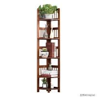 书架转角置物架客厅卧室实木墙角扇形落地创意隔板三角架多层花架
