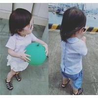 女童衬衫17夏新款童装婴幼儿童短袖条纹上衣棉麻翻领娃娃衫