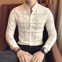 春秋新款休闲长袖衬衫商务男士修身韩版格子衬衣酒吧型男英伦寸衫