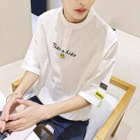 短袖男韩版刺绣打底衫情侣夏季新款日系棉麻半袖学生潮流