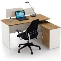 办公家具职员办公桌椅组合简约现代人四人工位办公室屏风原木色 1400*1200*750MM 单人位