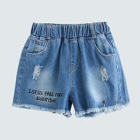 女童牛仔短裤夏两三岁薄款2018新款女宝外穿夏季韩版时尚破洞热裤 蓝色