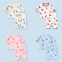 婴儿衣服卡通短袖短裤套装夏装幼儿男童女宝宝家居服两件套