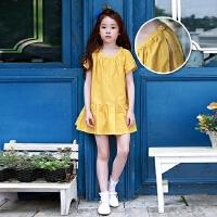 夏季韩国童装连衣裙胖女童短袖宽松公主裙中大童纯棉海边沙滩裙子