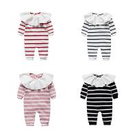 婴儿连体衣服宝宝新生儿季0岁2个月长袖休闲哈衣睡衣春款