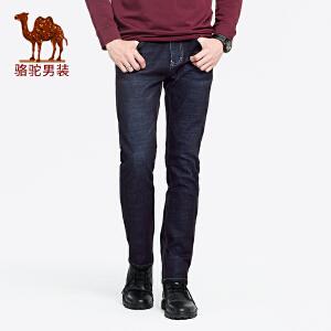 骆驼男装 秋冬新款青年纯色洗水裤子中腰直筒弹力牛仔长裤男