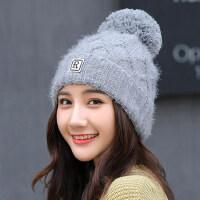 女帽韩版保暖毛线帽甜美可爱百搭针织帽 日系女生护耳帽子