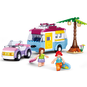 【当当自营】小鲁班新粉色梦想女孩海豚湾系列儿童益智拼装积木玩具 淘乐野营车M38-B0606