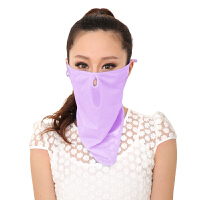 意构女款夏季防晒口罩防晒透气护颈防尘口罩面罩骑行面纱 魅力姹紫