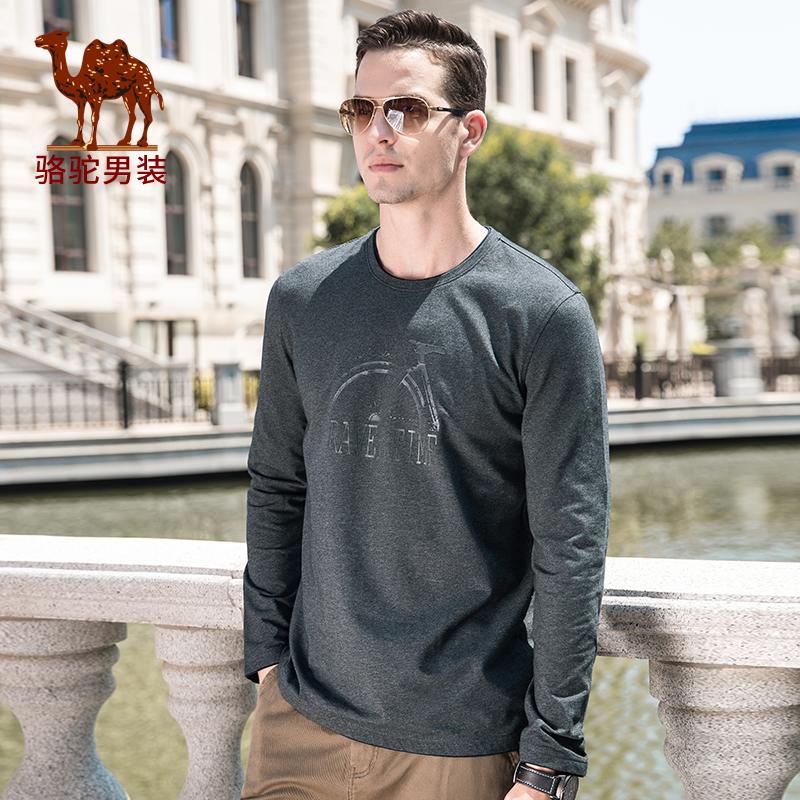 骆驼男装 秋季新款时尚青年纯色打底衫印花圆领长袖T恤男