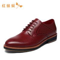 红蜻蜓男鞋春夏新款男皮鞋低跟撞色低跟撞色百搭男鞋男休闲皮鞋-