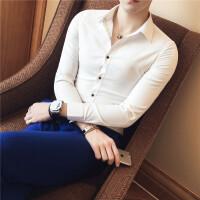2017秋冬韩版修身潮流男士衬衫长袖青年帅气发型师白色衬衣打底衫