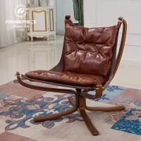美式单人沙发椅懒人休闲椅家用卧室客厅小户型实木皮沙发椅书房椅 实木(棕色)