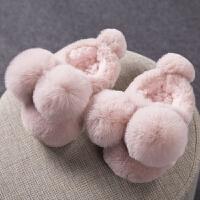 可爱冬季毛毛加绒加厚保暖情侣包跟拖鞋女中大童宝宝棉拖鞋男 粉红色 球球拖鞋