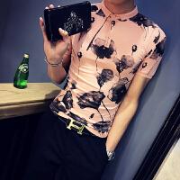夏季男士修身短袖t恤潮凉爽植物印花半袖翻领POLO衫男装保罗衫薄