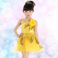儿童演出服女童舞蹈服装绿色表演服亮片小学生六一节跳舞裙纱裙