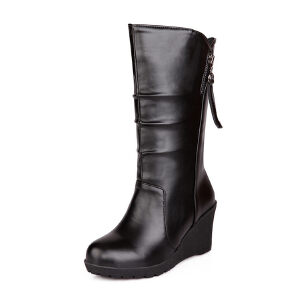 ELEISE美国艾蕾莎新品秋冬183-188韩版超纤皮坡跟女士女靴中筒靴