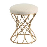 欧式妆台凳时尚布艺化妆凳简约创意换鞋凳美式化妆椅铁艺梳妆凳子 米黄A5 金色脚