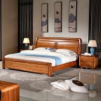 全实木床1.8米1.5米双人床厚重款床现代中式高箱储物婚床 乌金木床 1500mm*2000mm 气压结构