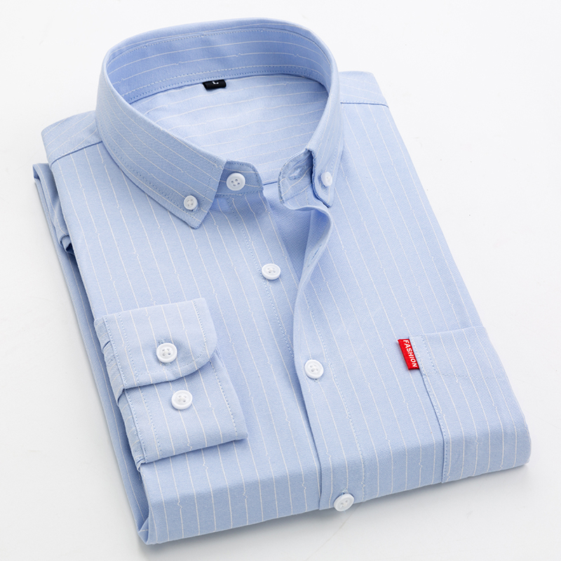 新款条纹衬衫男长袖韩版潮流修身衬衣青年外穿寸衫