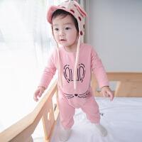 婴儿衣服满月男女宝宝外出服新生儿长爬春秋装纯棉哈衣连体衣