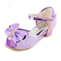 女童凉鞋公主鞋韩版2018夏季学生演出小女孩紫色水晶鞋儿童高跟鞋 紫色 送公主皇冠