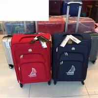 帆布拉杆箱静音万向轮可扩展经典登机旅行箱 polo-红色 20寸
