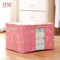 优芬牛津布带拉链可视窗不锈钢架百纳箱衣物收纳箱整理箱 66L粉色树叶50*40*33cm