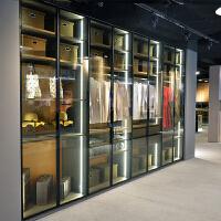 定制衣柜整体衣帽间现代极简约透明钢化玻璃开门全屋定制家具 组装 1平方米